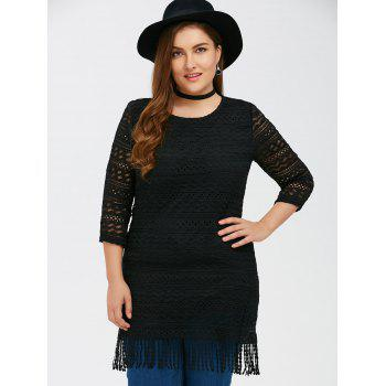 Lace Openwork Fringed Longline Top - BLACK 3XL