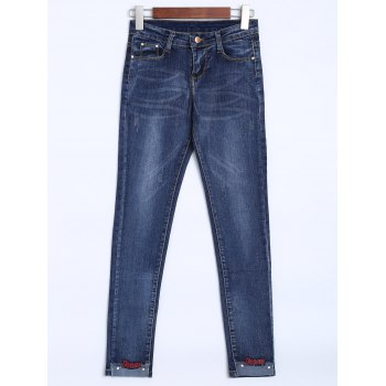 High Rise Embroidered Hem Jeans