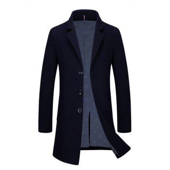 Buy Slim Fit Lapel Single Breasted Wool Blend Coat CADETBLUE