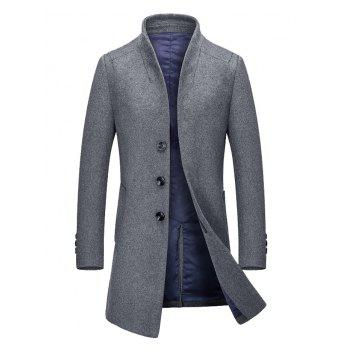 Stand Collar Single Breasted Wool Mix Coat