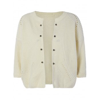 Rivet Open-Front Knit Cardigan