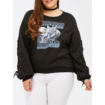 Animal Graphic Criss Cross Bandage Sweatshirt