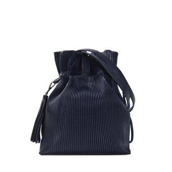 Drawstring Tassel Ribbed Shoulder Bag