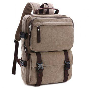 Casual Canvas Multifunctional Backpack - LIGHT KHAKI