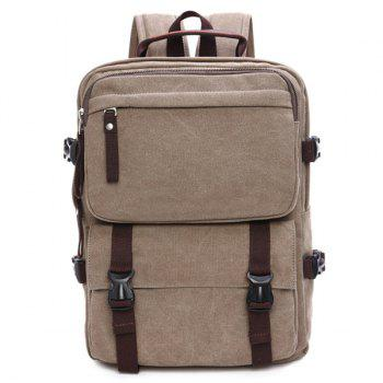 Casual Canvas Multifunctional Backpack - LIGHT KHAKI LIGHT KHAKI