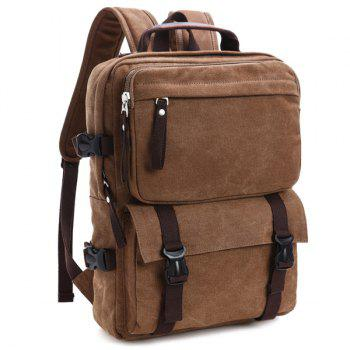 Casual Canvas Multifunctional Backpack -  COFFEE