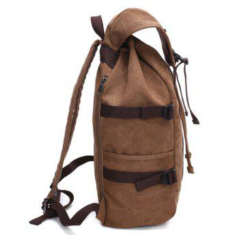 Casual Straps Multifunctional Canvas Backpack -  COFFEE