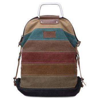 Metal Handle Canvas Color Block Backpack
