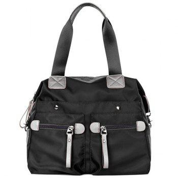 Casual Front Zip Pockets Nylon Shoulder Bag