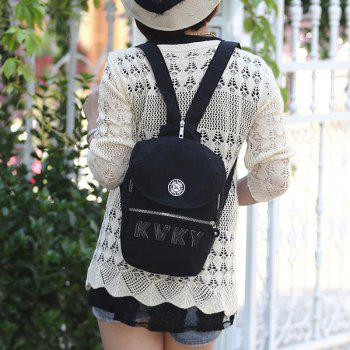 Casual Nylon Letter Patches Crossbody Bag - BLACK