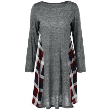 Long Sleeve Plaid Trim Dress