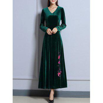 V Neck Plum Blossom Pattern Velvet Maxi Swing Dress