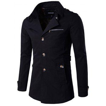 Slimming Single Breasted Epaulet Embellished Wind Coat