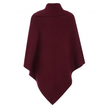 Knitted Convertible Neck Asymmetric Cape - ONE SIZE ONE SIZE