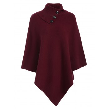 Knitted Convertible Neck Asymmetric Cape