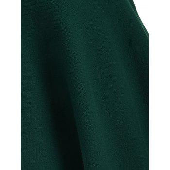 Knitted Convertible Neck Asymmetric Cape - GREEN ONE SIZE