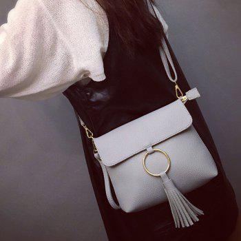 Magnetic Closure Metal Ring Tassels Crossbody Bag