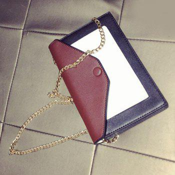 Magnetic Closure Colour Splicing Envelope Crossbody Bag - WINE RED