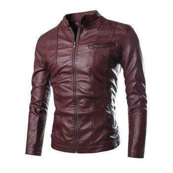 Pocket Zip Stand Collar PU Leather Jacket