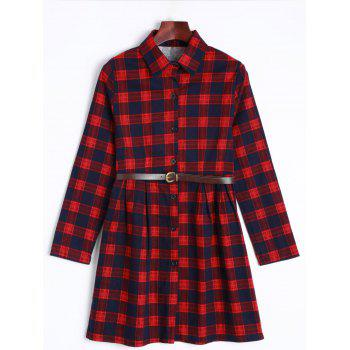 Long Sleeve Checked Dress With Belt