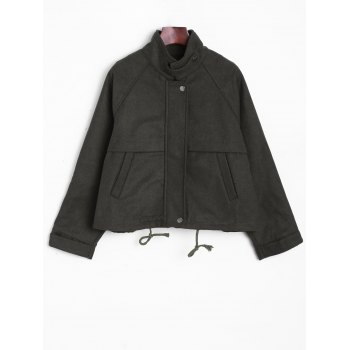 Stand Collar String  Jacket - ARMY GREEN ARMY GREEN