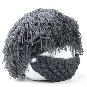 Stylish Men and Women's Woolen Yarn Imitated Wig Embellished Knitted Beanie - FROST FROST