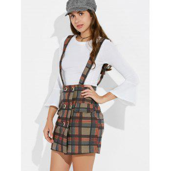 Slim Fit Tee and Plaid Suspender Skirt - RED M