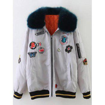 Padded Bomber Jacket with Furry Collar