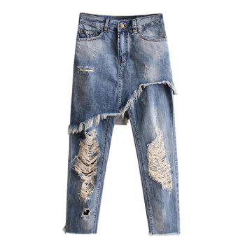 Ripped Bleach Wash Asymmetric Jeans