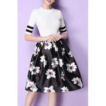 Floral High Rise Knee Length Skirt