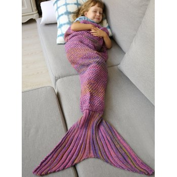 Buy Winter Thicken Longer Color Block Design Knitted Wrap Kids Mermaid Tail Blanket PINK