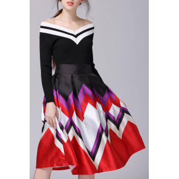 High Rise Zig Zag Tea Length Skirt