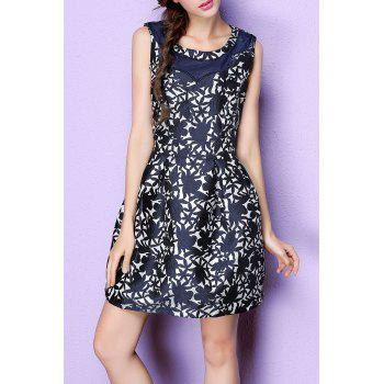 Sleeveless Jacquard Mini Ball Gown Dress