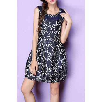Sleeveless Jacquard Mini Ball Gown Dress - DEEP BLUE L