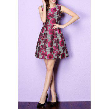 Floral Jacquard Striped Ball Gown Dress - RED M