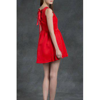 Mini Lace Up A Line Dress - RED S