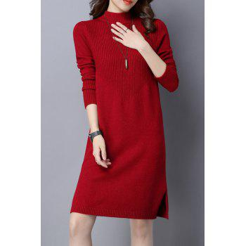 Hign Neck Ribbed  Knitted Dress