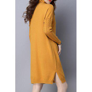 High Neck Single Pocket Knitted Dress - YELLOW YELLOW