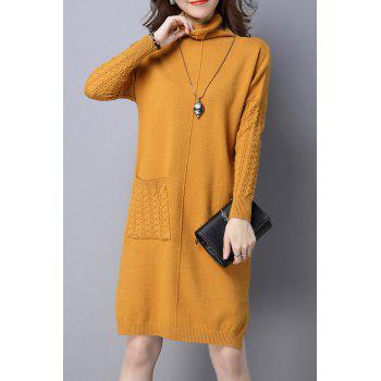 High Neck Single Pocket Knitted Dress