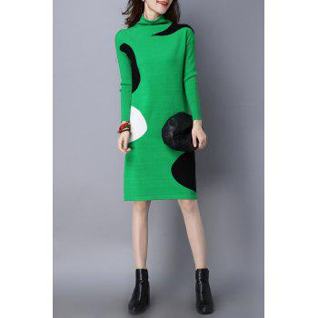 High Neck Color Block Knitted Dress - L L