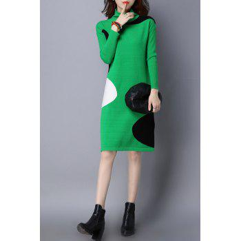 High Neck Color Block Knitted Dress - GREEN GREEN