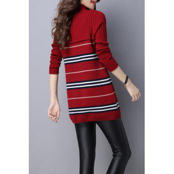 Stripe Color Block Knitted Jumper Dress - DEEP RED XL