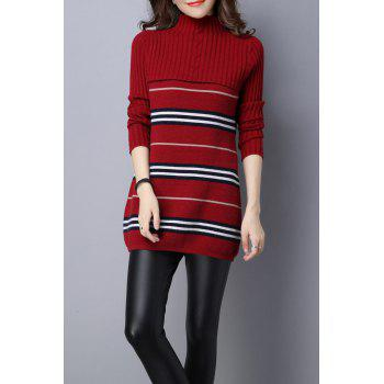Stripe Color Block Knitted Jumper Dress - DEEP RED DEEP RED