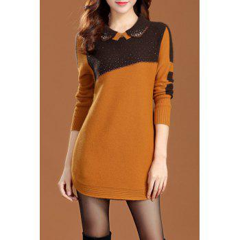 Color Block Long Sleeve Sweater Dress