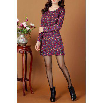 Jacquard Vintage A Line Jumper Dress - PURPLE PURPLE