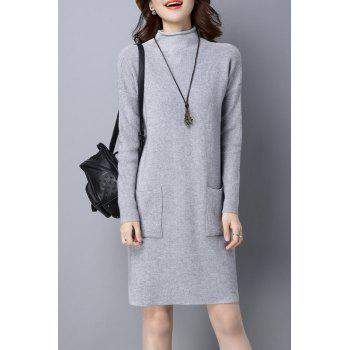 High Neck Knitted Dress with Pockets