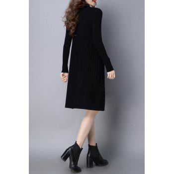 High Neck Ribbed Knitted Dress - XL XL