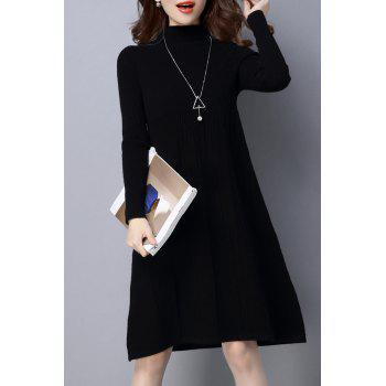 High Neck Ribbed Knitted Dress - BLACK XL