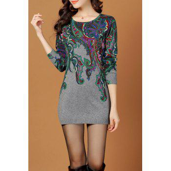Jacquard Ethnic Sweater Dress