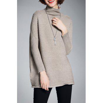 Turtleneck Slit Ribbed Sweater - KHAKI M